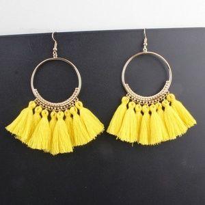 Jewelry - NEW COLOR! Long Tassel Fringe Boho Earrings YELLOW